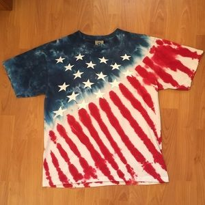 Vtg Liquid Blue American Flag Print T-Shirt Medium